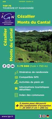 CEZALLIER MONTS DU CANTAL 1:75.000 -TOP 75 IGN