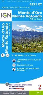 4251 OT MONTE D'ORO/MONTE ROTONDO 1:25.000 -TOP 25 IGN