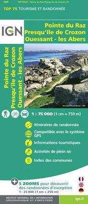 POINTE DU RAZ 1:75.000 PRESQU'ILE DE COROZON -TOP 75 IGN