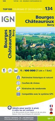 134 BOURGES CHATEAUROUX 1:100.000 -TOP 100 IGN