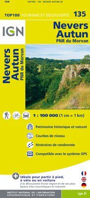 135 NEVERS AUTUN 1:100.000 -TOP 100 IGN