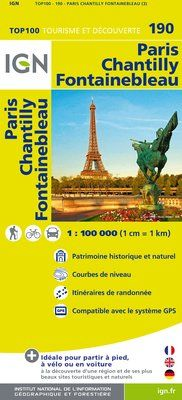 190 PARIS CHANTILLY FONTAINEBLEAU 1:100.000 -TOP 100 IGN