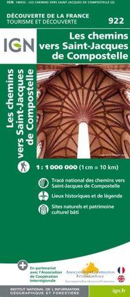 922 LES CHEMINS VERS SAINT-JACQUES DE COMPOSTELLE 1:1.000.000 -DÉCOUVERTE DE LA FRANCE -IGN