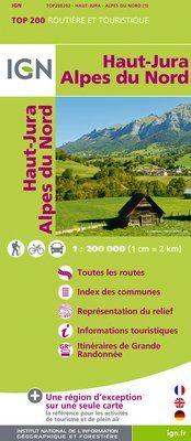 HAUT-JURA ALPES DU NORD 1:200.000 -TOP 200 IGN
