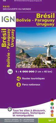 BRÉSIL 1:4.000.000 URUGUAY -DÉCOUVERTE DES PAYS DU MONDE -IGN