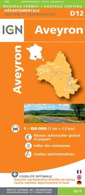 D12 AVEYRON 1:200.000 -DEPARTEMENTALE IGN