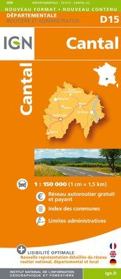 D15 CANTAL 1:200.000 -DEPARTEMENTALE IGN