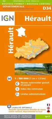 D34 HERAULT 1:200.000 -DEPARTEMENTALE IGN