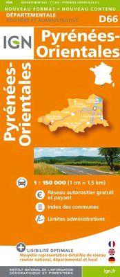 D66 PYRENEES ORIENTALES 1:200.000 -DEPARTEMENTALE IGN