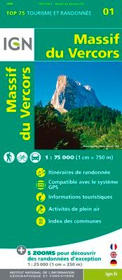 MASSIF DU VERCORS 1:75.000 -TOP 75 -IGN