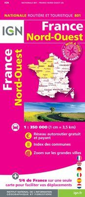 801 FRANCE NORD-OUEST 1:350.000 -CARTES DE FRANCE IGN