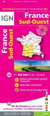 803 FRANCE SUD-OUEST 1:350.000 -CARTES DE FRANCE IGN