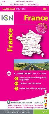 955 FRANCE [RECTO-VERSO PLASTIFIEE] 1:1.000.000 -CARTES DE FRANCE IGN
