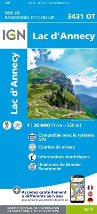 3431 OT LAC D'ANNECY 1:25.000 -TOP 25 -IGN