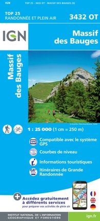 3432 OT MASSIF DE BAUGES 1:25.000 -TOP 25 -IGN