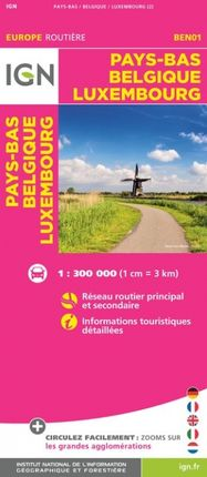 PAYS-BAS, BELGIQUE, LUXEMBOURG 1:300.000 -EUROPE ROUTIÈRE -IGN