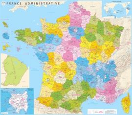 FRANCE ADMINISTRATIVE [MURAL PLASTIFICAT] 1:1.020.000 -IGN