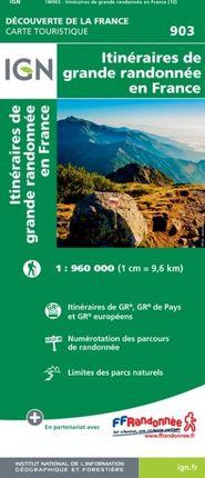 903 ITINÉRAIRES DE GRANDE RANDONNÉE EN FRANCE 1:1.000.000 -DÉCOUVERTE DE LA FRANCE -IGN