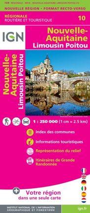 10 NOUVELLE-AQUITAINE (LIMOUSIN POITOU) 1:250.000 -ROUTIER FRANCE RÉGIONALE -IGN