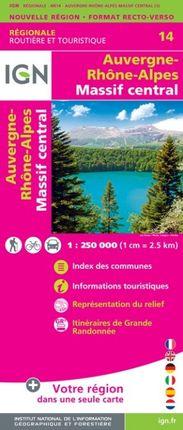 14 AUVERGNE-RHONE-ALPES (MASSIF CENTRAL) 1:250.000 -ROUTIER FRANCE RÉGIONALE -IGN