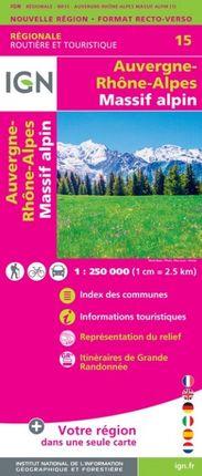 15 AUVERGNE-RHONE-ALPES (MASSIF ALPIN) 1:250.000 -ROUTIER FRANCE RÉGIONALE -IGN