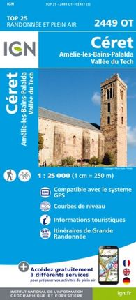 2449 OT CÉRET 1:25.000 -TOP 25 -IGN