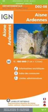 D02-08 AISNE / ARDENNES 1:150.000 -ROUTIER FRANCE DÉPARTEMENTALE -IGN