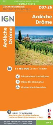 D07-26 ARDÈCHE / DRÔME 1:150.000 -DÉPARTEMENTALE -IGN