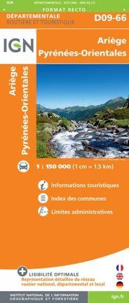D09-66 ARIÈGE / PYRENÉES-ORIENTALES 1:150.000 -ROUTIER FRANCE DÉPARTEMENTALE -IGN