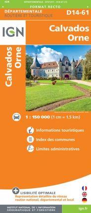 D14-61 CALVADOS / ORNE 1:150.000 -ROUTIER FRANCE DÉPARTEMENTALE -IGN