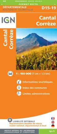 D15-19 CANTAL / CORRÈZE 1:150.000 -ROUTIER FRANCE DÉPARTEMENTALE -IGN