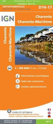 D16-17 CHARENTE / CHARENTE-MARITIME 1:150.000 -ROUTIER FRANCE DÉPARTEMENTALE -IGN