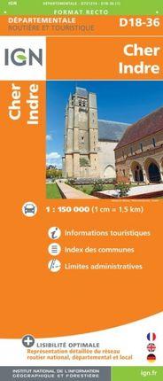 D18-36 CHER / INDRE 1:150.000 -ROUTIER FRANCE DÉPARTEMENTALE -IGN