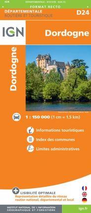 D24 DORDOGNE 1:150.000 -ROUTIER FRANCE DÉPARTEMENTALE -IGN
