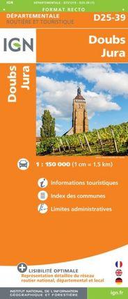 D25-39 DOUBS / JURA 1:150.000 -ROUTIER FRANCE DÉPARTEMENTALE -IGN