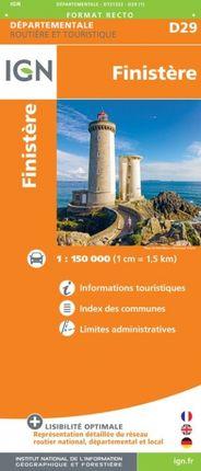 D29 FINISTÈRE 1:150.000 -ROUTIER FRANCE DÉPARTEMENTALE -IGN