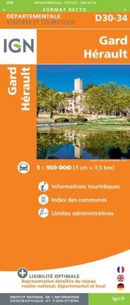 D30-34 GARD / HÉRAULT 1:150.000 -ROUTIER FRANCE DÉPARTEMENTALE -IGN
