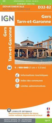 D32-82 GERS / TARN-ET-GARONNE 1:150.000 -ROUTIER FRANCE DÉPARTEMENTALE -IGN