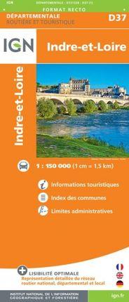 D37 INDRE-ET-LOIRE 1:150.000 -ROUTIER FRANCE DÉPARTEMENTALE -IGN