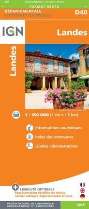 D40 LANDES 1:150.000 -ROUTIER FRANCE DÉPARTEMENTALE -IGN