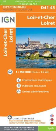 D41-45 LOIR-ET-CHER / LOIRET 1:150.000 -ROUTIER FRANCE DÉPARTEMENTALE -IGN