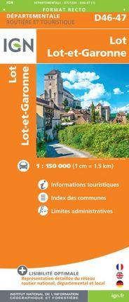 D46-47 LOT / LOT-ET-GARONNE 1:150.000 -ROUTIER FRANCE DÉPARTEMENTALE -IGN