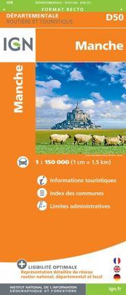 D50 MANCHE 1:150.000 -ROUTIER FRANCE DÉPARTEMENTALE -IGN