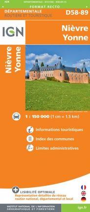 D58-89 NIÈVRE / YONNE 1:150.000 -DÉPARTEMENTALE -IGN