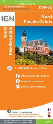 D59-62 NORD PAS-DE-CALAIS 1:150.000 -ROUTIER FRANCE DÉPARTEMENTALE -IGN