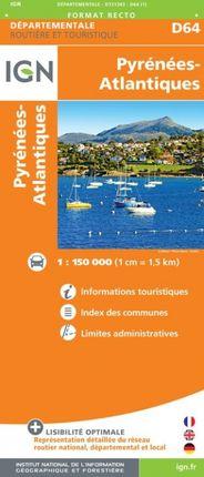 D64 PYRÉNÉES-ATLANTIQUES 1:150.000 -ROUTIER FRANCE DÉPARTEMENTALE -IGN