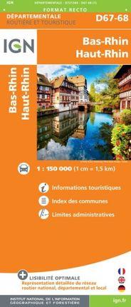 D67-68 BAS-RHIN / HAUT-RHIN 1:150.000 -ROUTIER FRANCE DÉPARTEMENTALE -IGN