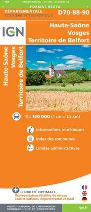 D70-88-90 HAUTE-SAÔNE / VOSGES / TERRITOIRE DE BELFORT -ROUTIER FRANCE DÉPARTEMENTALE -IGN