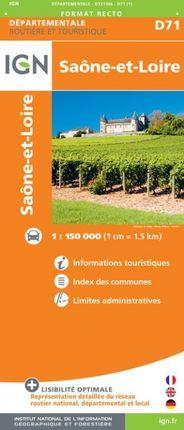 D71 SAÔNE-ET-LOIRE 1:150.000 -ROUTIER FRANCE DÉPARTEMENTALE -IGN