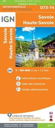 D73-74 SAVOIE / HAUTE SAVOIE 1:150.000 -ROUTIER FRANCE DÉPARTEMENTALE -IGN